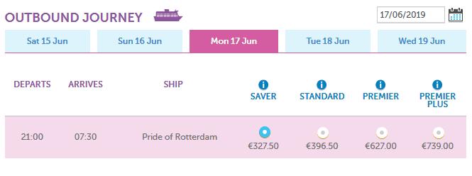 ferry boat price Rotterdam Hull