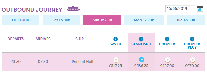 ferry price rotterdam hull