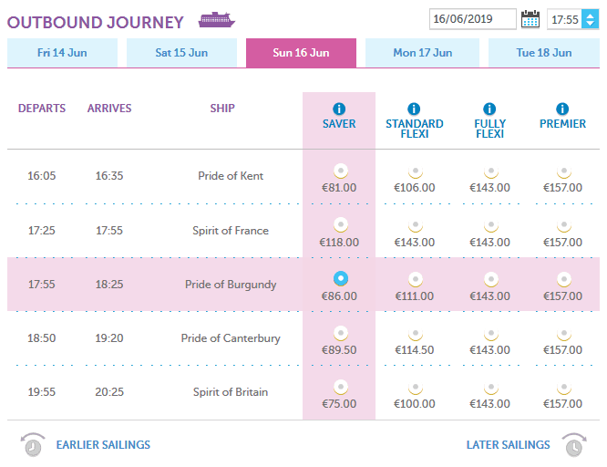 po ferry prices from calais to dover