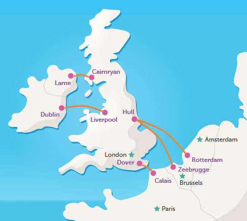 some ferry routes accros teh north sea